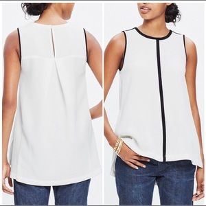 Madewell Black and White Crepe Canal Tank Top